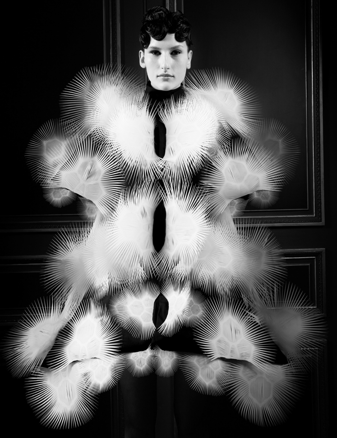 Voltage shot by Ronald Stoops. For the show, van Herpen collaborated with New Zealand artist Carlos Van Camp whose work involves running 3 million volts through bodies. The 3D printed dresses were created in collaboration with Neri and Keren Oxman and Professor Craig Carter of MIT with Stratasys and architect Julia Koerner with Materialise