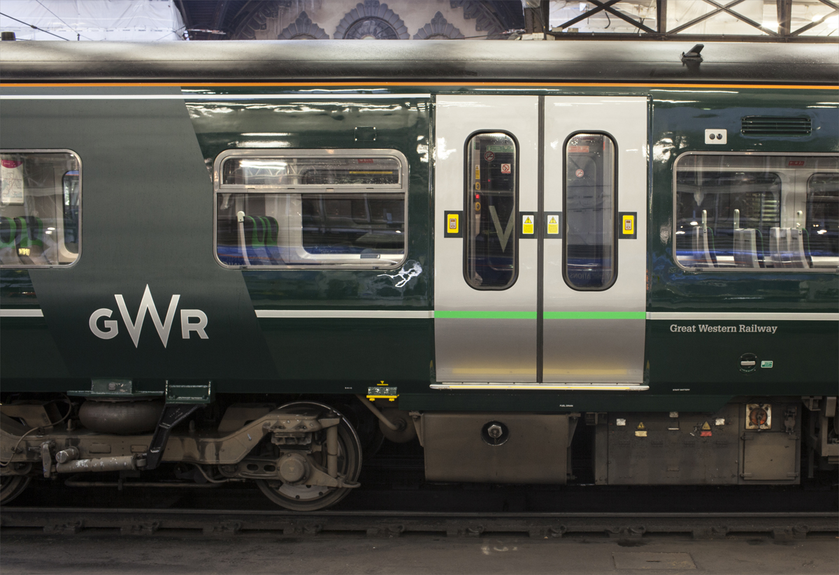 Train livery featuring the new logo in the matt 'sash'