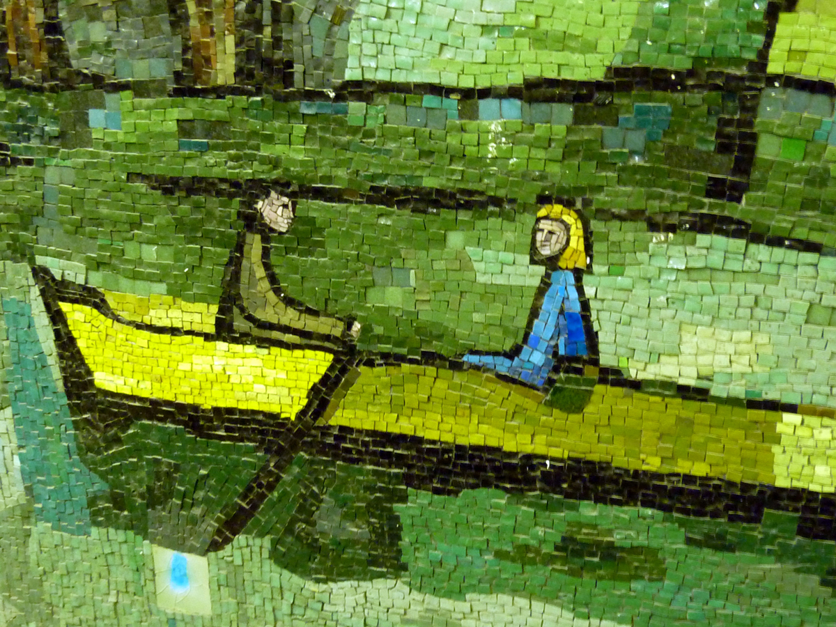 Hans Unger, Royal Free Hospital mosaic mural, detail, 1973
