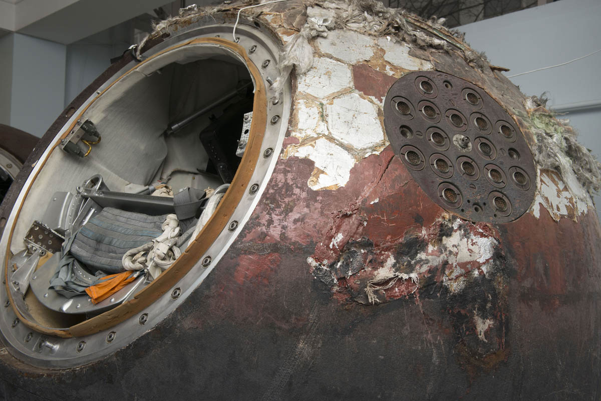 Close up of Vostok 6 descent module, 1963, c. Energia. Photo c. State Museum and Exhibition Centre ROSIZO