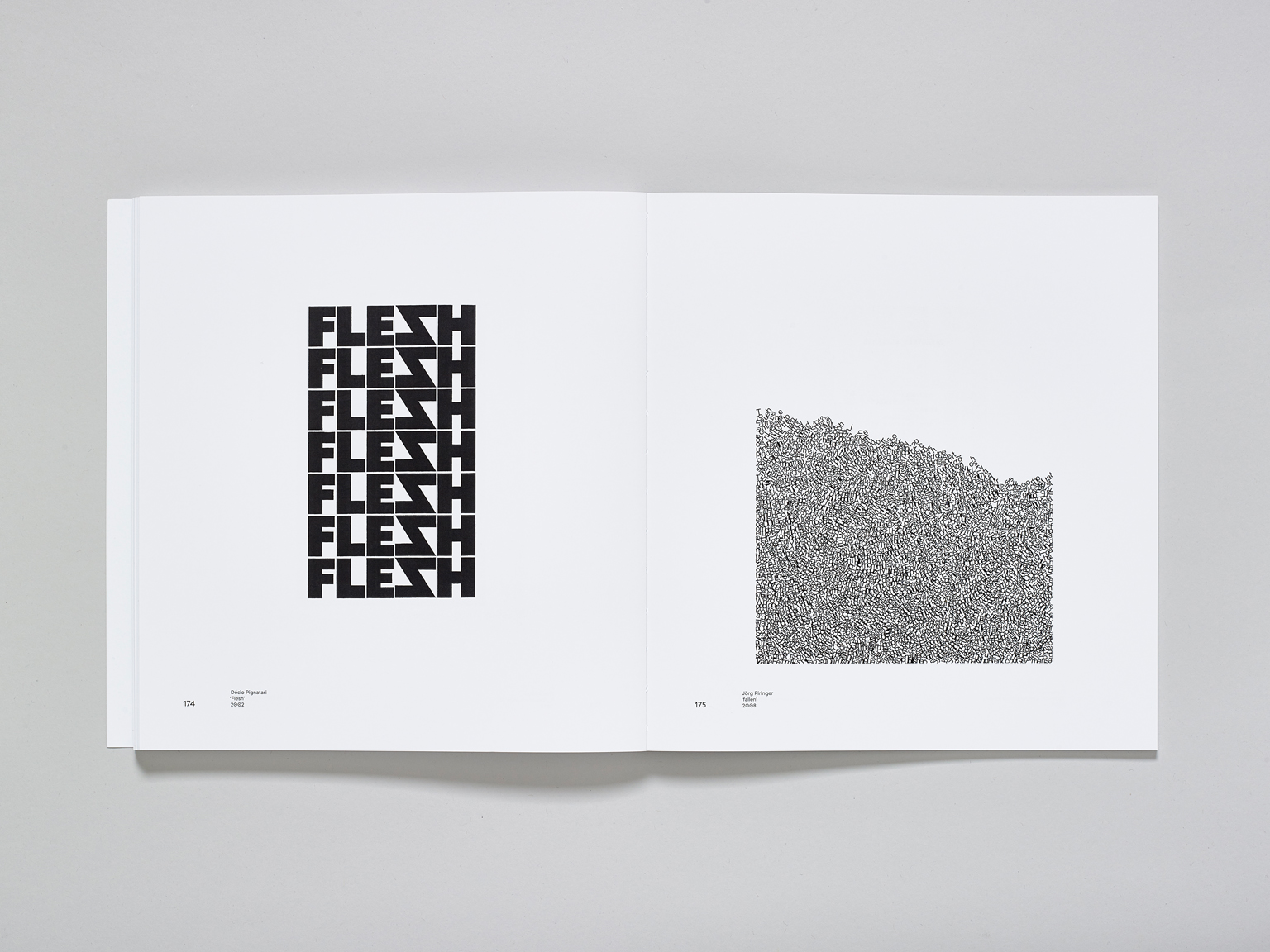 Spreads from The New Concrete: Visual Poetry in the 21st Century (Hayward Publishing) showing work by Decio Pignatari (2002) and Jorg Piringer (2008)