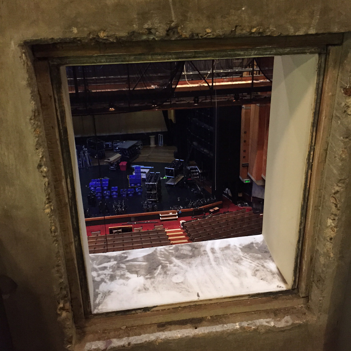 View from the projection room into the Queen Elizabeth Hall, photo: Eliza Williams