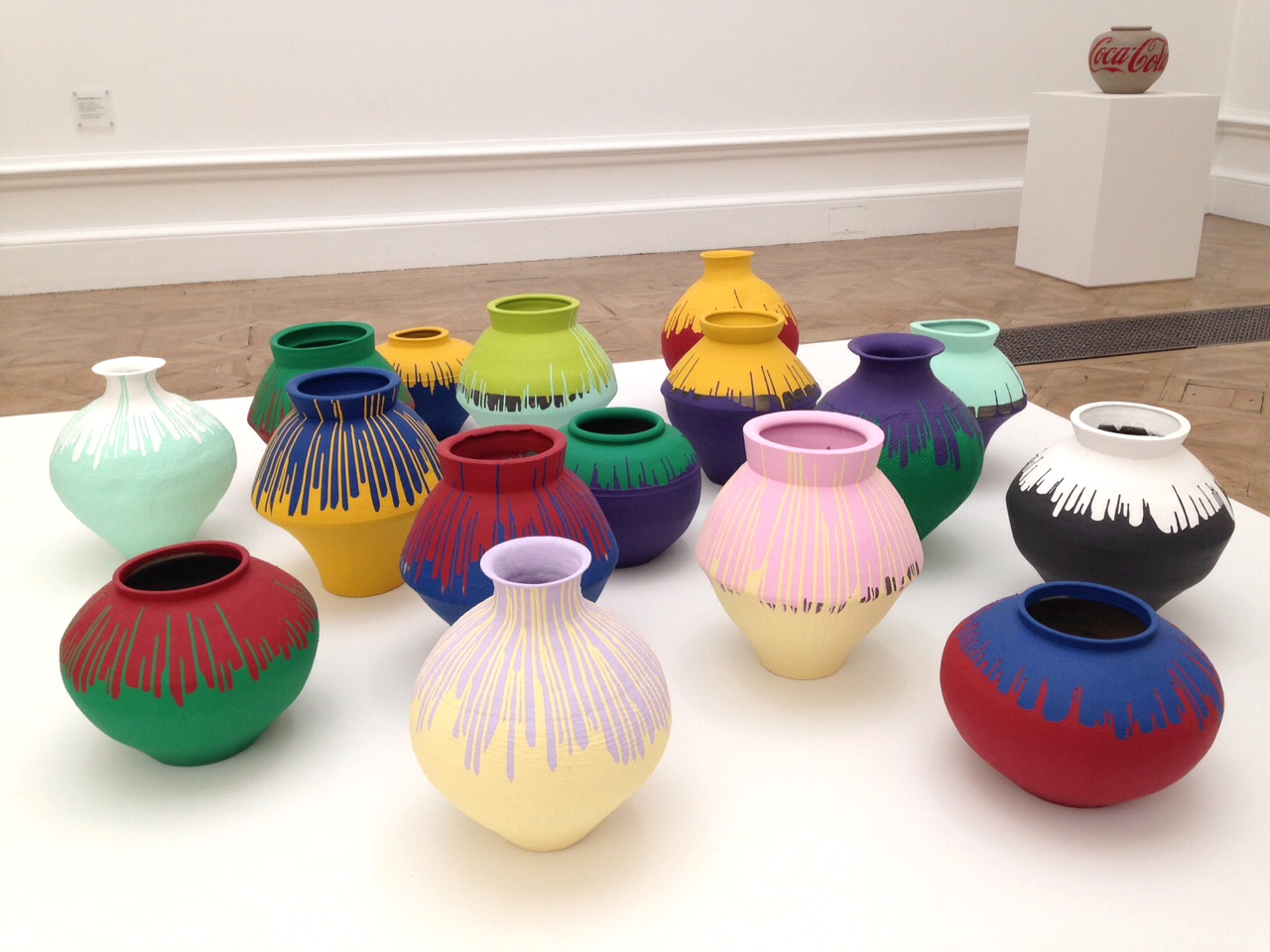 Coloured Vases, 2015. Twelve Han Dynasty (206 BC-220 AD) and four Neolithic (5,000-3,000BC) vases with industrial paint