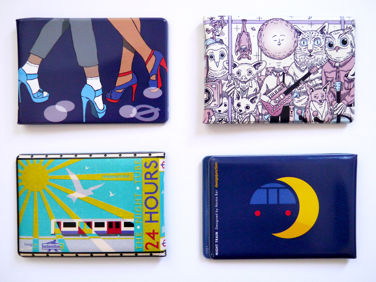 Top, from left: covers by Lucy Vigrass, Morag Myerscough, Craig & Karl, and Crispin Finn; Above (clockwise from top left): designs by Mel Elliott, Andrew Rae, Noma Bar, and MinaLima