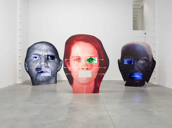 Installation view of Tony Oursler's Template/Variant/Friend/Stranger at Lisson Gallery in London