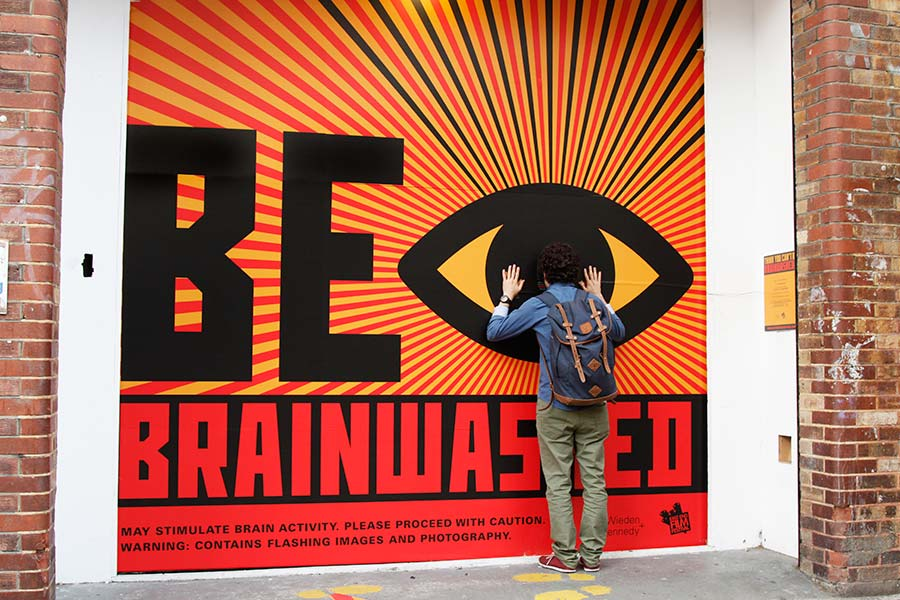 Be Brainwashed window installation at Wieden + Kennedy