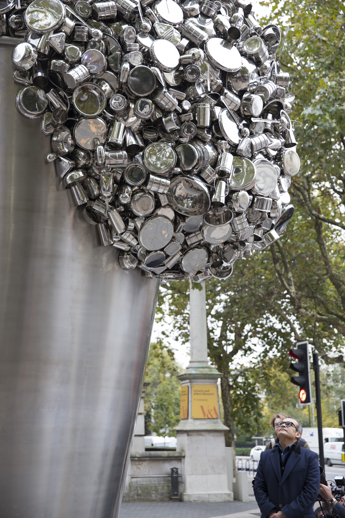Subodh Gupta looks up at When Soak Becomes Spill