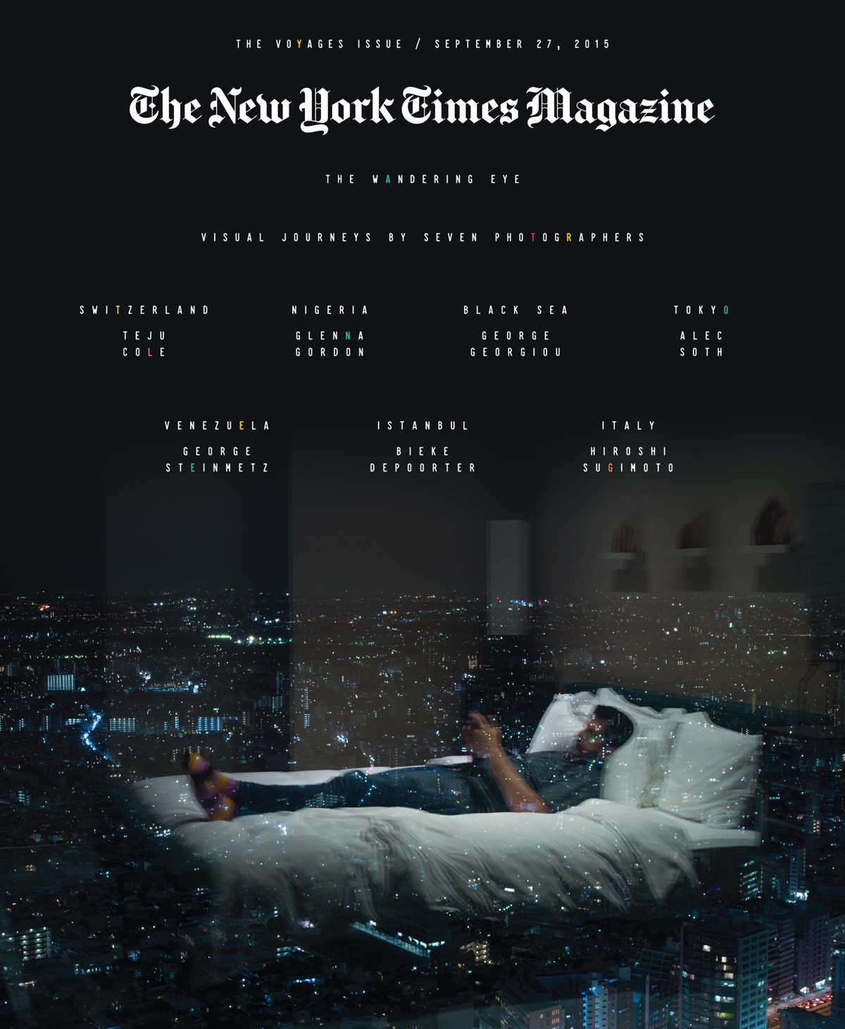 Voyages issue cover, designed by Willey, using a self-portrait taken by Alec Soth in his Tokyo hotel room