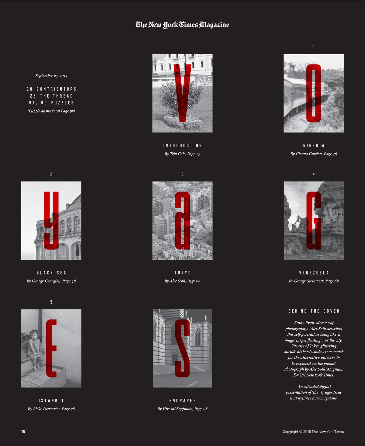 Voyages opening page, using condensed type by art director Matt Willey