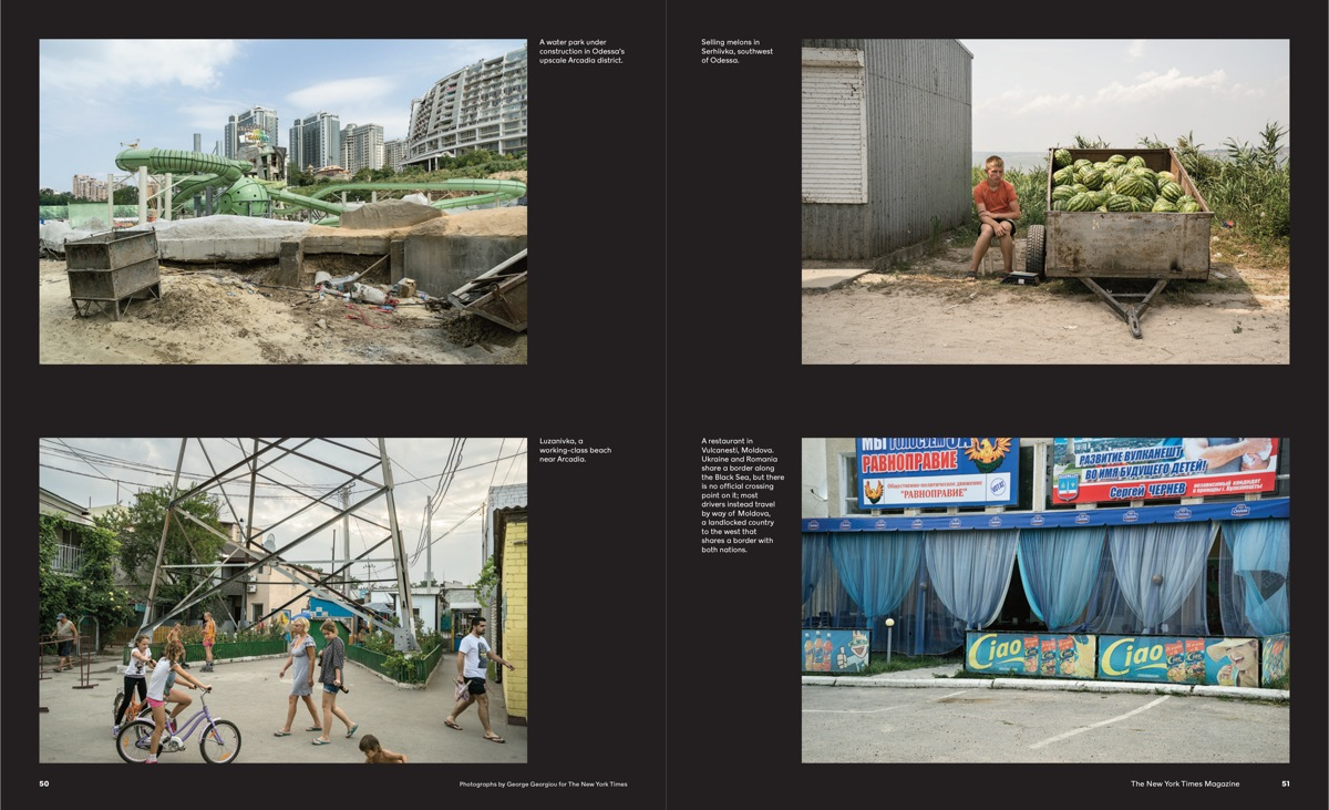 Two spreads from George Georgiou's journey to the Black Sea
