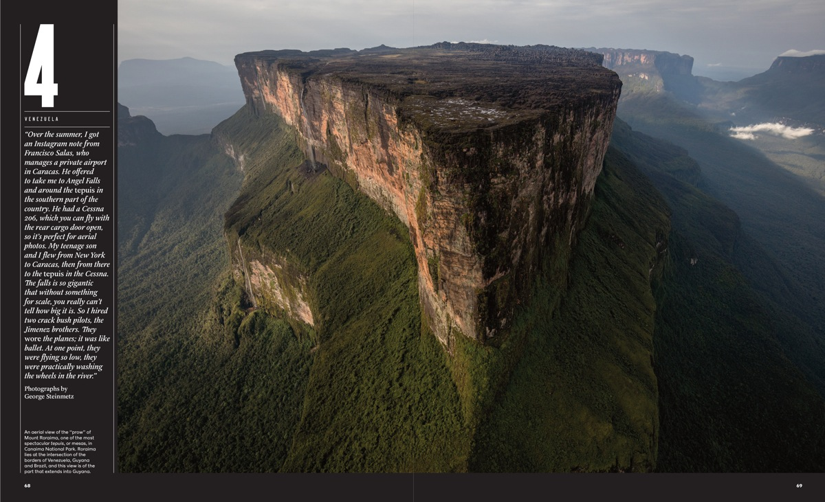 Opening spread to George Steinmetz series of photographs taken in Venezuela – an aerial view of Mount Roraima