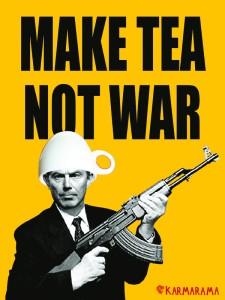 Make Tea Not War poster by agency Karmarama, UK, 2003