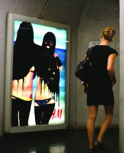 Below, from left: 'Hijabizing' intervention in the Paris Metro by Princess Hijab, France, 2006-11