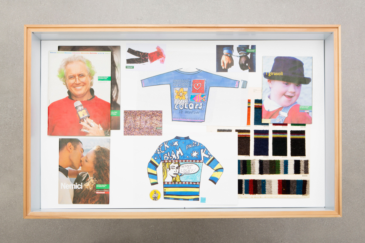 Display case at Benetton's archive