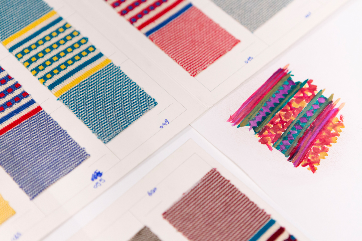 Textile samples in display case at Benetton's archive
