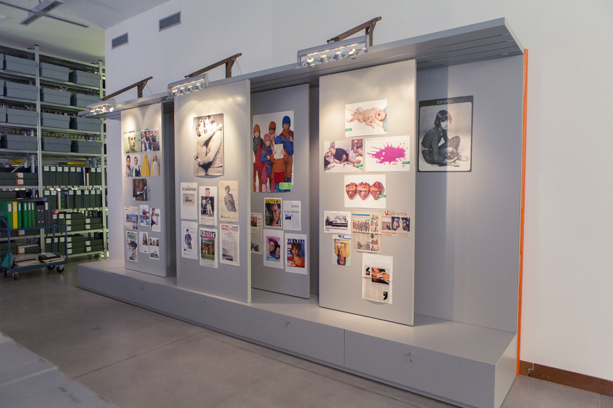 Ad proofs on display at Benetton's archive