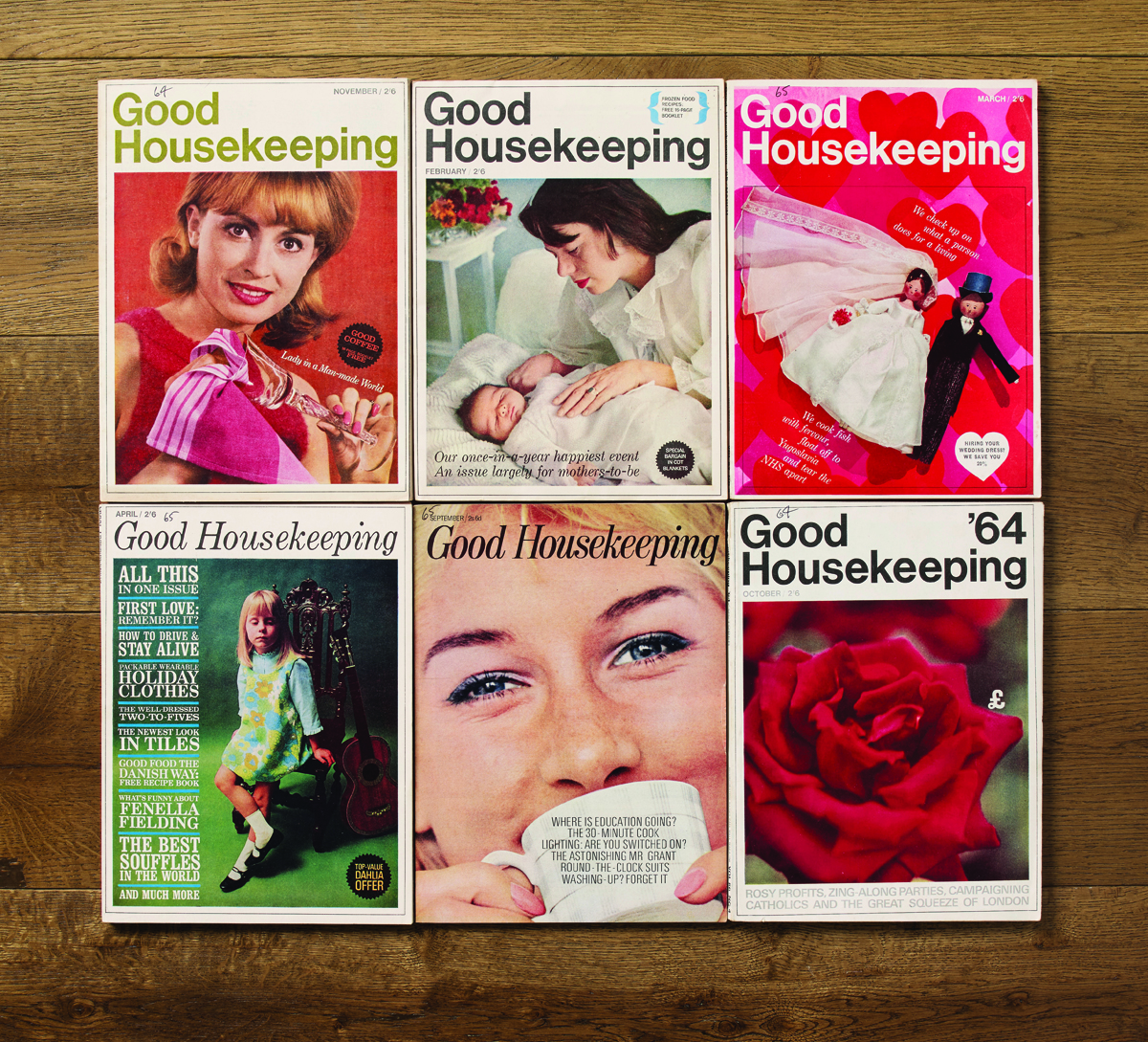 Clockwise from top left: Good Housekeeping magazines, issue November 1964, February 1965, March 1965, October 1964, September 1965, April 1965.