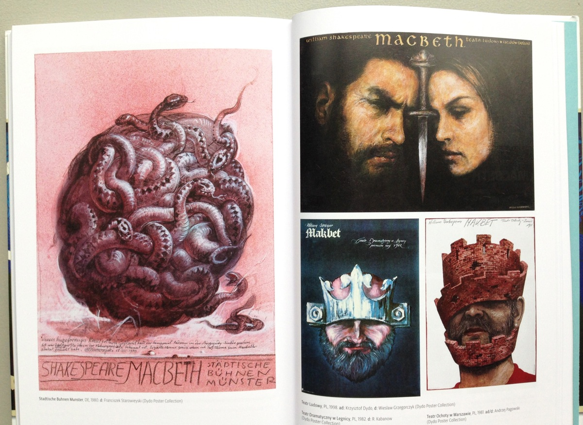 Various posters for productions of Macbeth, including one by Franciszek Starowieyski (on left)