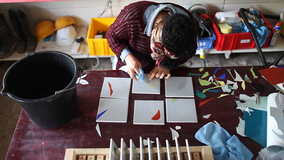 Creating the glazed ceramic tiles, using cut out ceramic decal paper