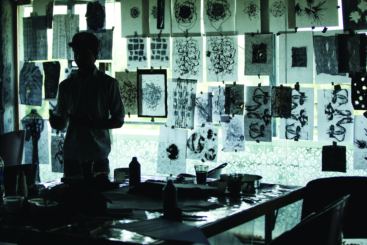 Ikea teamed up with students from the National Institute of Fashion Technology in New Delhi to create Svärtan, a range of black-and-white textiles with patterns inspired by peeling walls and masses of twisted cables found in the Hauz Khas area of the city