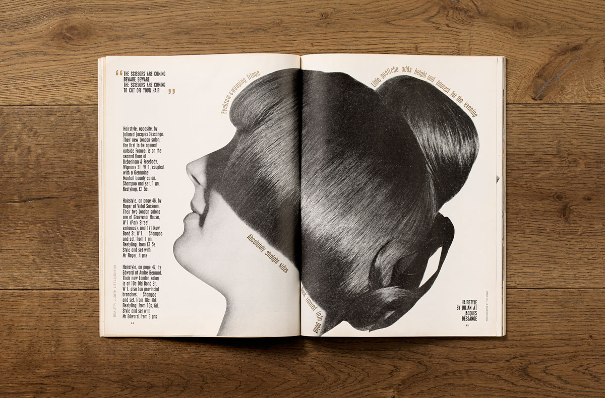 A bold and arresting Good Housekeeping spread on hair styling from February 1965.  Art direction by Jack Larkin.