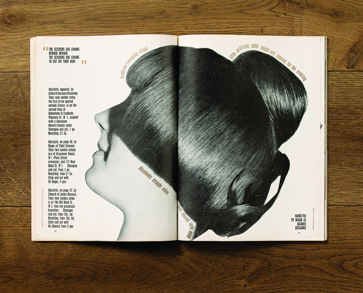 A bold and arresting spread on hair styling from February 1965. Art Direction by Jack Larkin.