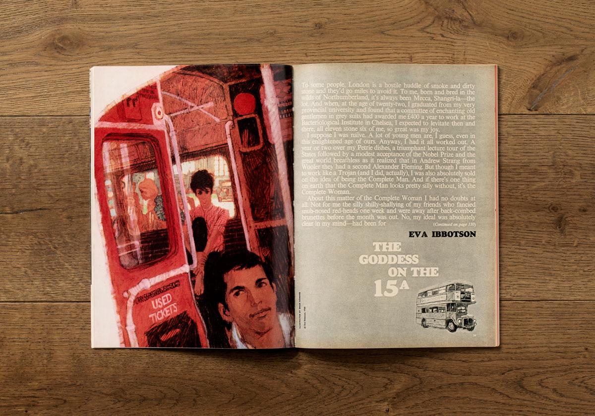 Short story opening spread, March 1965.  Jack Larkin