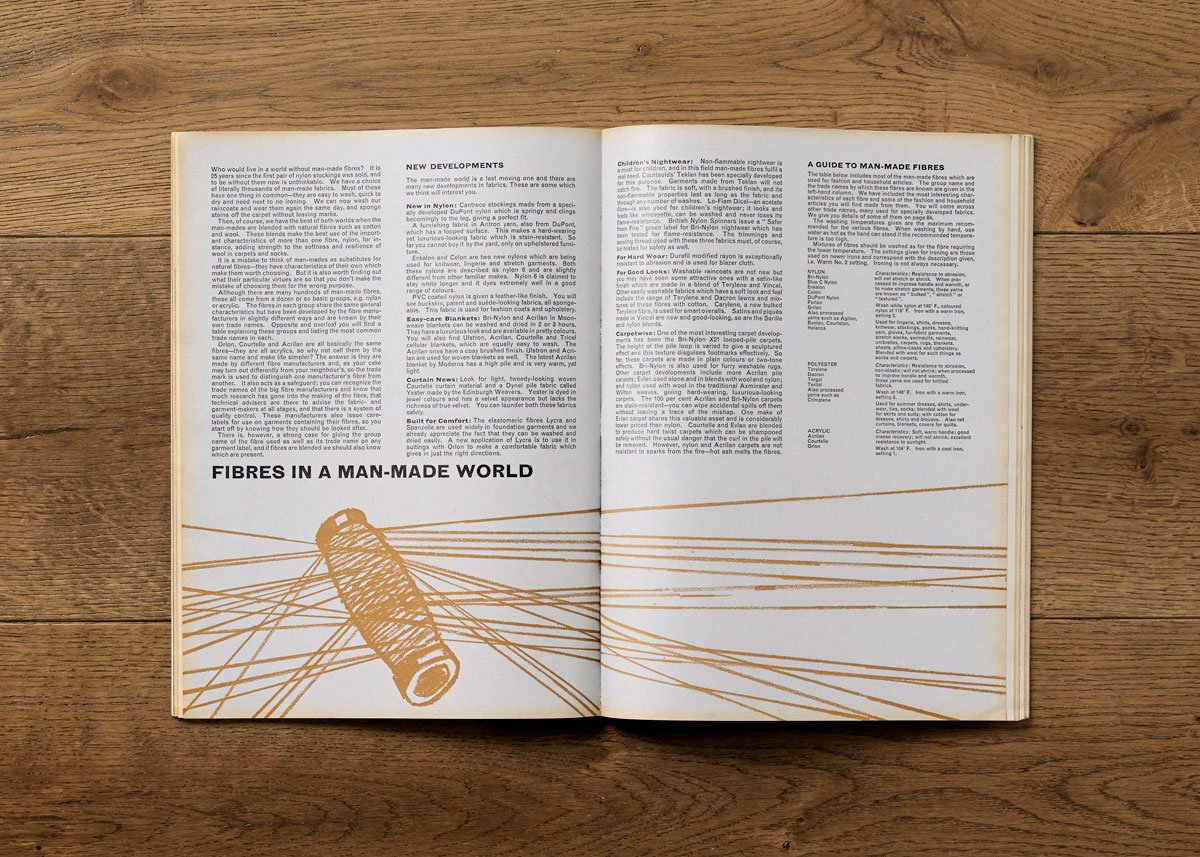 Good Housekeeping Report on Man-made Fibres, November 1964. Art direction: Jack Larkin