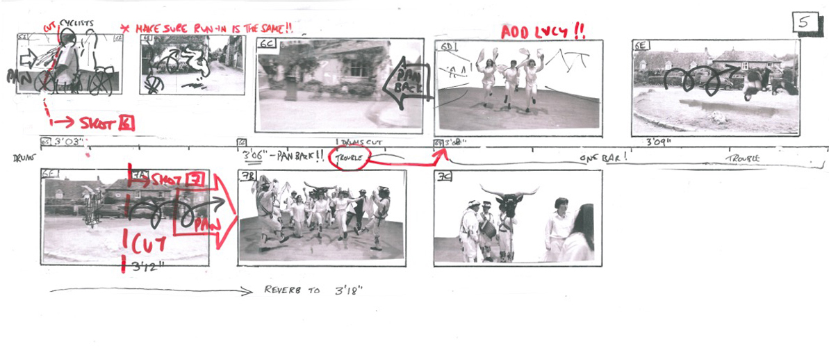 Top and above: Dougal Wilson's storyboard for the Stealing Sheep video