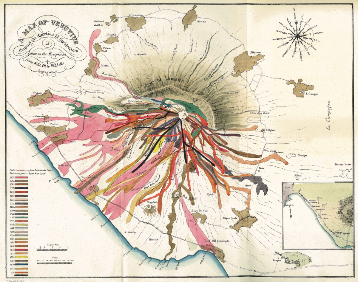 A Map of Vesuvius 1832 John Auldjo. Lithograph, 29 x 34 cm, University of Otago, Dunedin. University of Otago, New Zealand