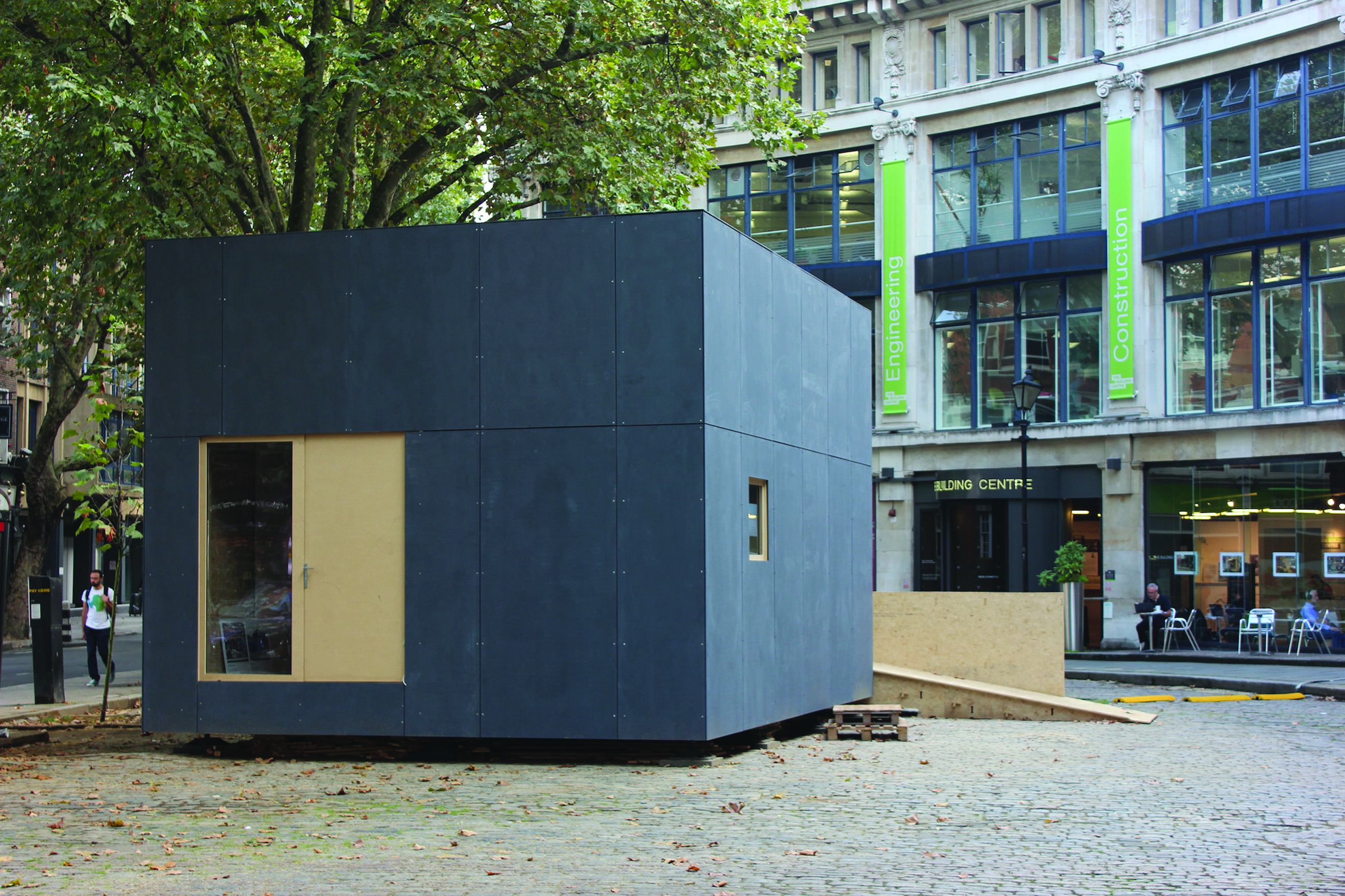 A WikiHouse built outside the Building Centre in Store Street, central London, in 2014. It cost less than £50,000 to build. Photo: WikiHouse Foundation