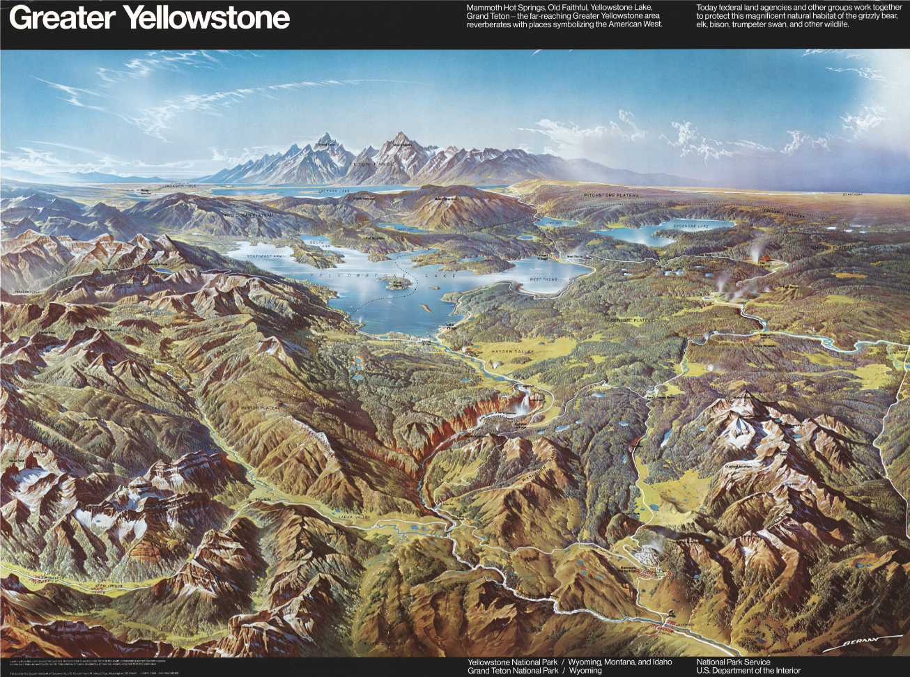 Greater Yellowstone, 1962, Heinrich C. Berann. Printed paper, 74 x 100 cm, private collection. David Rumsey Map Collection