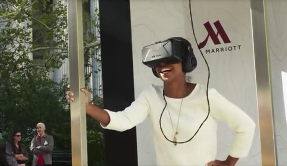 To promote its luxury hotels as honeymoon destinations, Marriott set up a 'teleporter' outside New York's City Hall and invited a number of newly wed couples to take a virtual reality trip to Hawaii or London