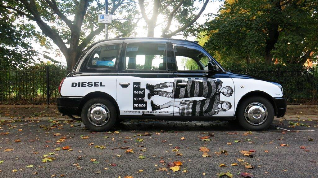 Top: Diesel ads in Tinder; Above: ad on London taxi