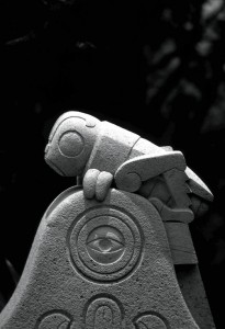 Stone sculpture of a grasshopper. In the Nahuatl (Aztec) language, 'chapultepec' means 'grasshopper hill'