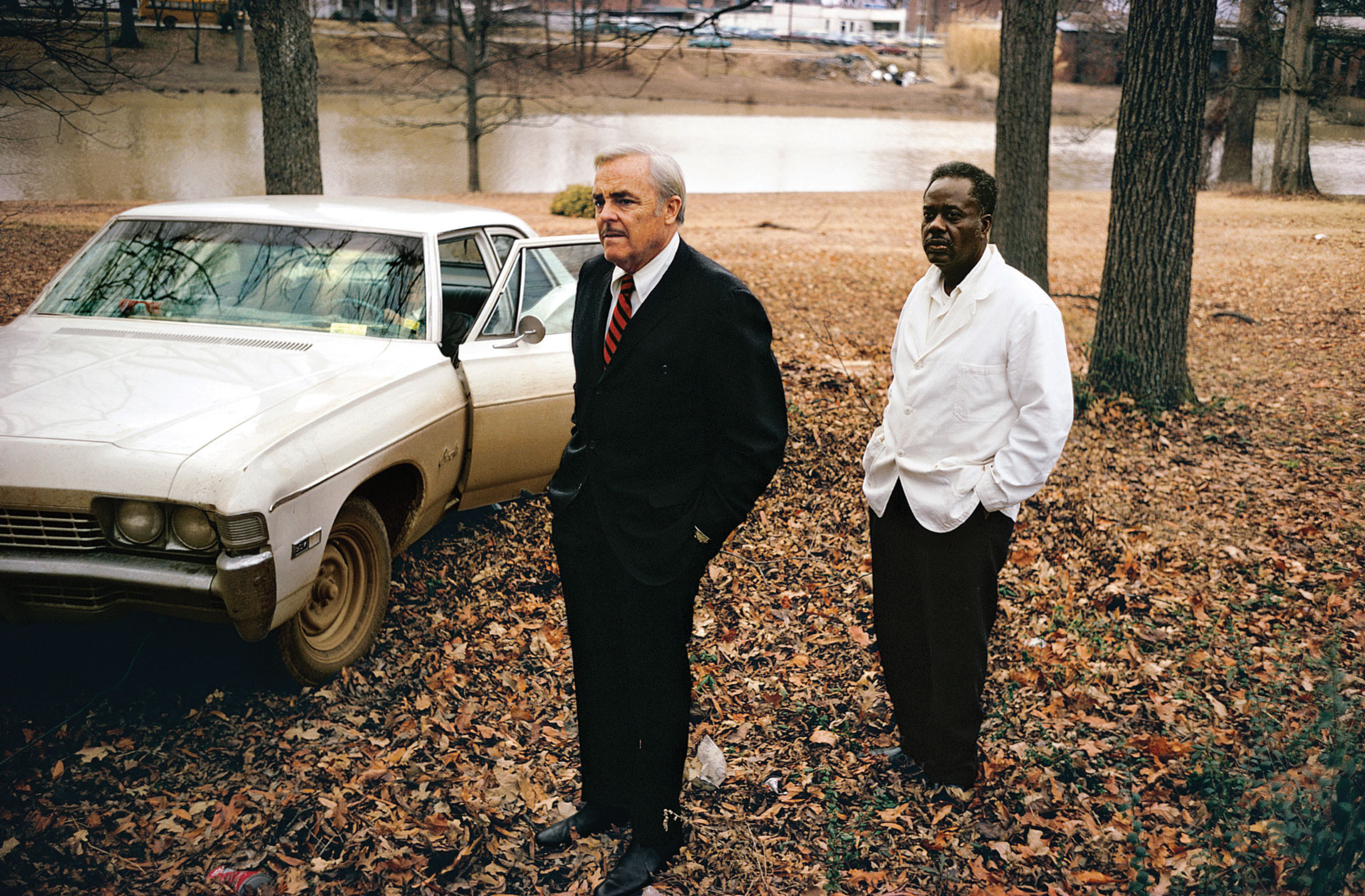 Untitled, 1969–70 (the artist's uncle, Ayden Schuyler Senior, with Jasper Staples, in Cassidy Bayou, Sumner, Mississippi) by William Eggleston © Eggleston Artistic Trust