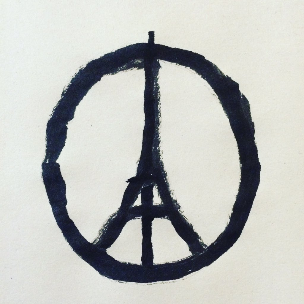 Peace for Paris by Jean Jullien. The French illustrator tweeted the image at 11.08pm on November 13. It has been retweeted 59k times