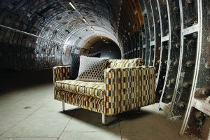 Kirkby Design sofa, inspired by moquette fabrics used historically on the tube