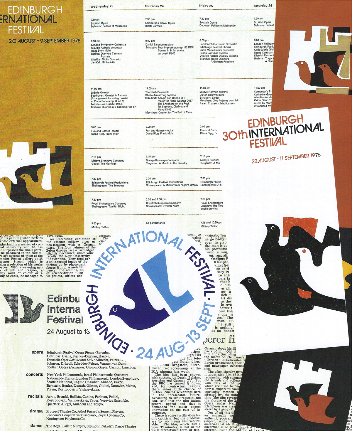 Edinburgh International Festival publicity material (1976-78). Designed by Hans and Pat Schleger (Hans Schleger Associates)
