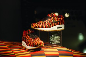 Nike trainers featuring a pattern inspired by Misha Black's textile designs