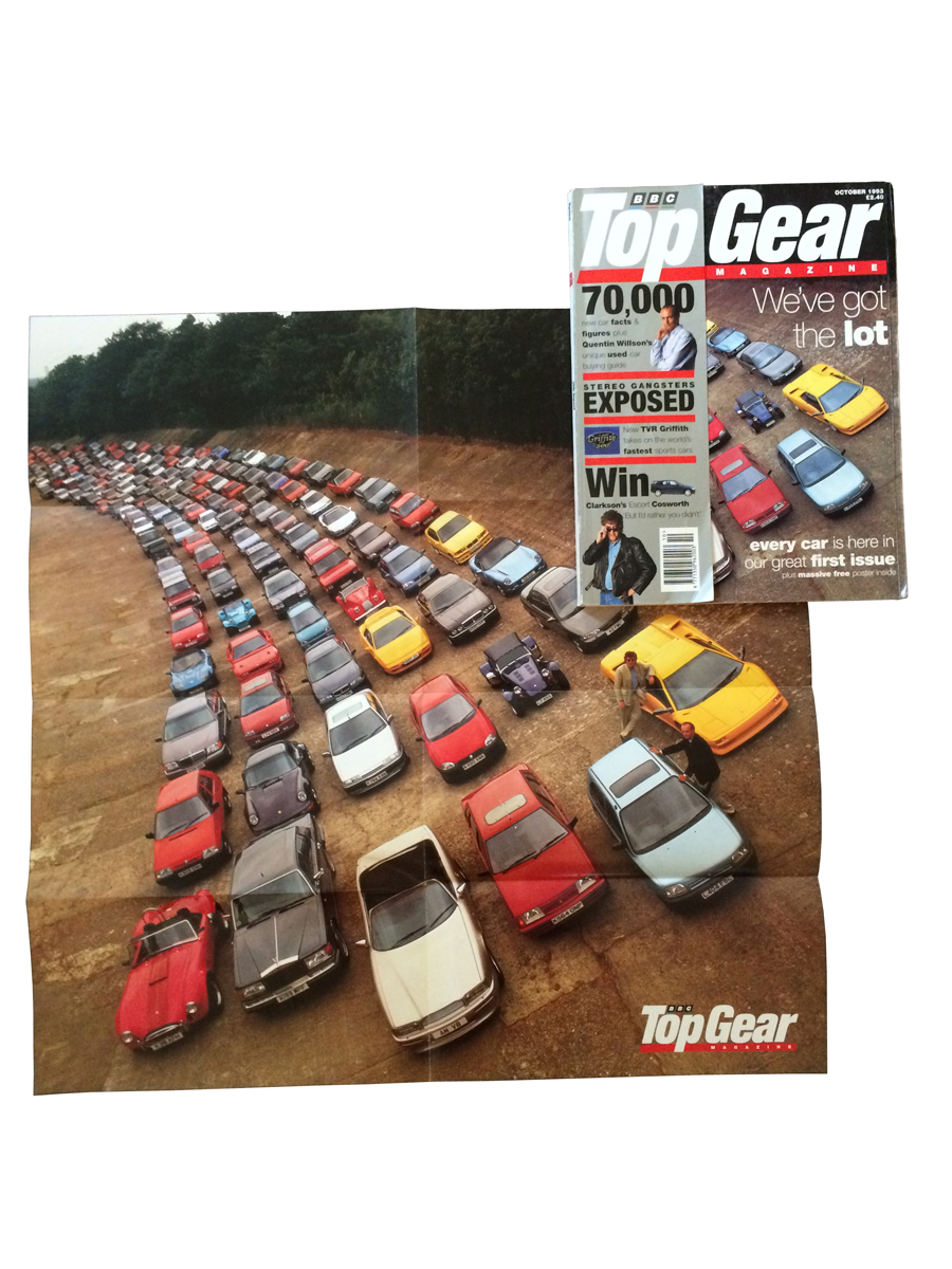 """So I was to meet Jeremy Clarkson....told me about a pic he'd seen in Germany. One shot – every car you could buy. So we had our first cover idea."" TopGear magazine, issue one, Oct 1993"