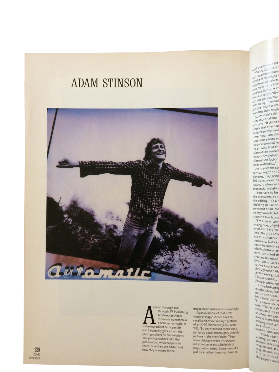 Adam Stinson in Car magazine's Photo supplement, 1985