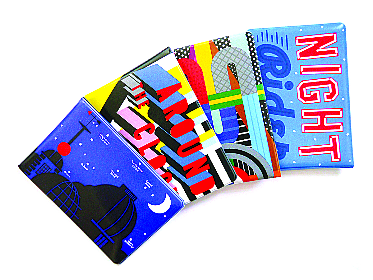 Oyster card wallets celebrating the forthcoming night tube service commissioned in collaboration with Outline Artists and featuring illustrations by various artists