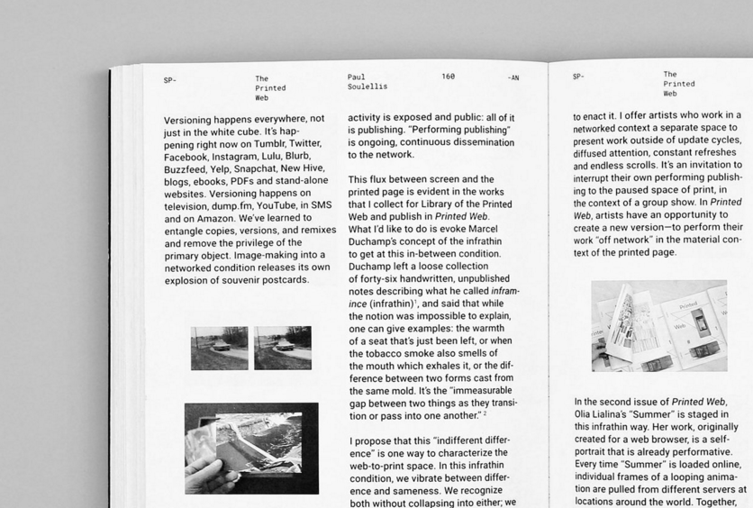 Two-column layout set in Roboto. The folio is set in Roboto Mono and, say Google, provides a consistent, visual anchor for the varied content