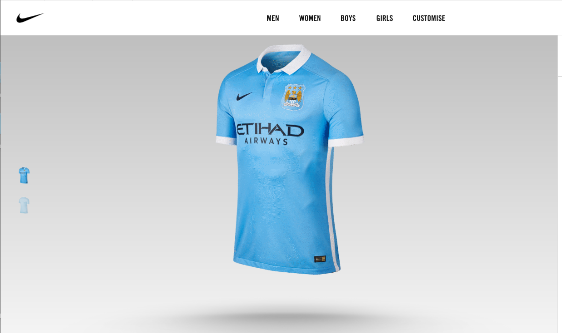 Current Man City home shirt as it appears on Nike website