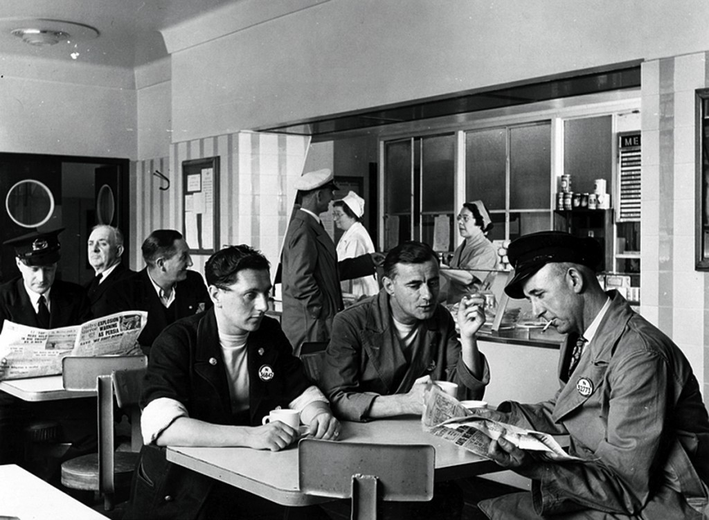 Photograph of the Vauxhall TfL staff canteen in 1951