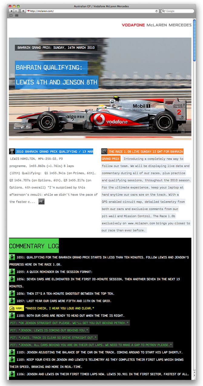 Site for McLaren F1 by Work Club from 2010, which featured live data from the F1 car on the track, allowing fans a much closer view of what the team saw