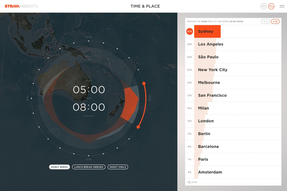 Data on the Strava Insights platform