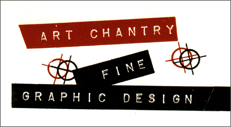 "Art Chantry's first business card, 1976, offset litho. ""This is my very first business card I ever made for myself. Back in 1976, this sort of thing wasn't done in the Northwest. It looked like a dead fish out of water among other business cards. Punk hadn't even 'happened' in the Northwest for all intents and purposes. This card failed utterly – it was simply too much too soon. Please note the FINE registration!"""