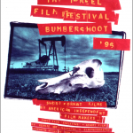One-Reel Film Festival at Bumbershoot Arts Fair, Seattle, T-shirt by Art Chantry with Scott McDougal, 1996, silkscreen. Photo by Dan Wayne from short film Skeletons by George Langworthy